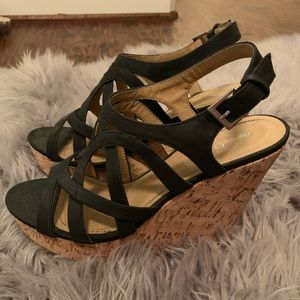 Charming Charlie Strappy Black Wedges—Size 10